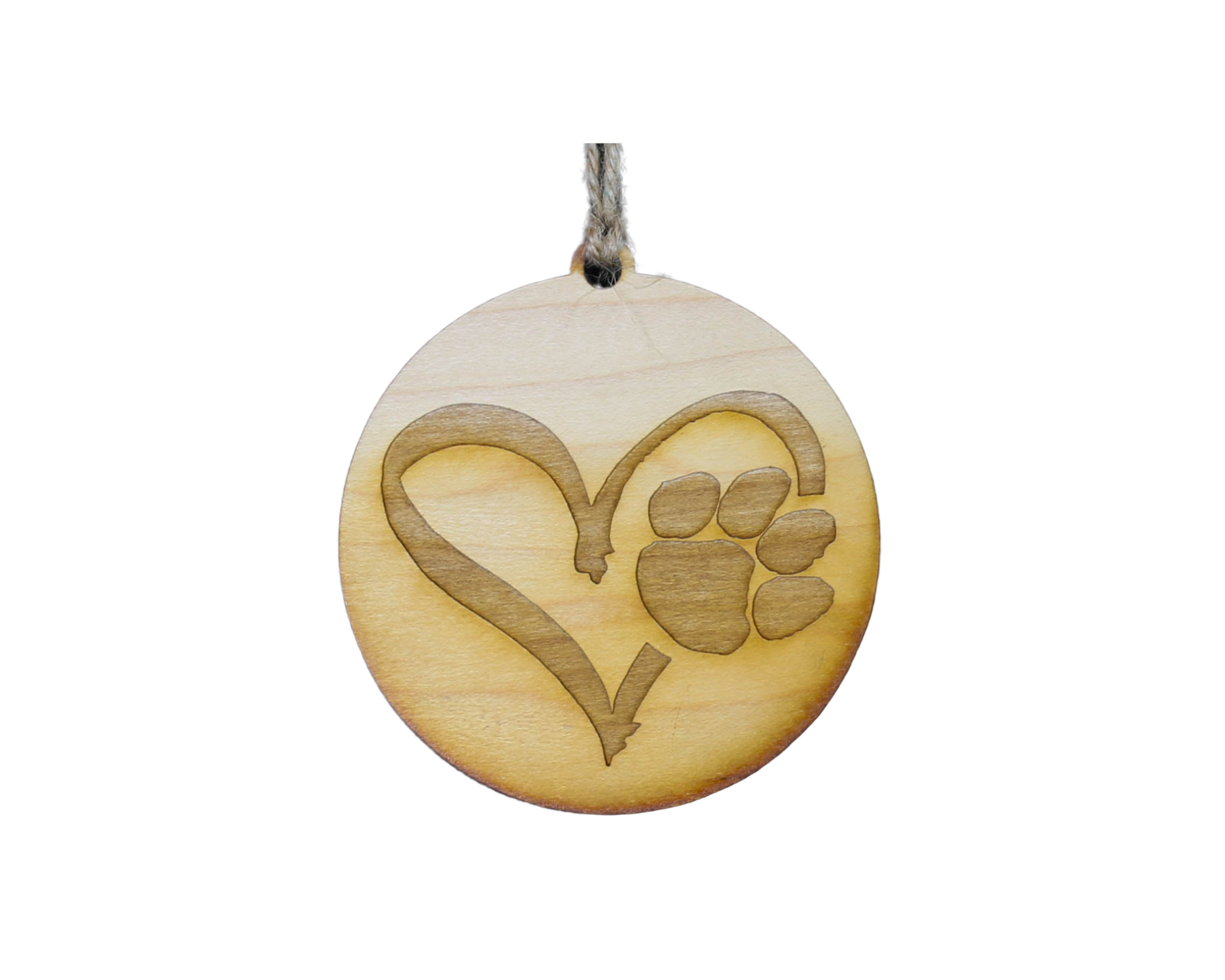 Puppy Paw Heart Wood Ornament