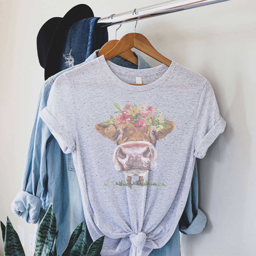 Floral Cow Graphic Tee