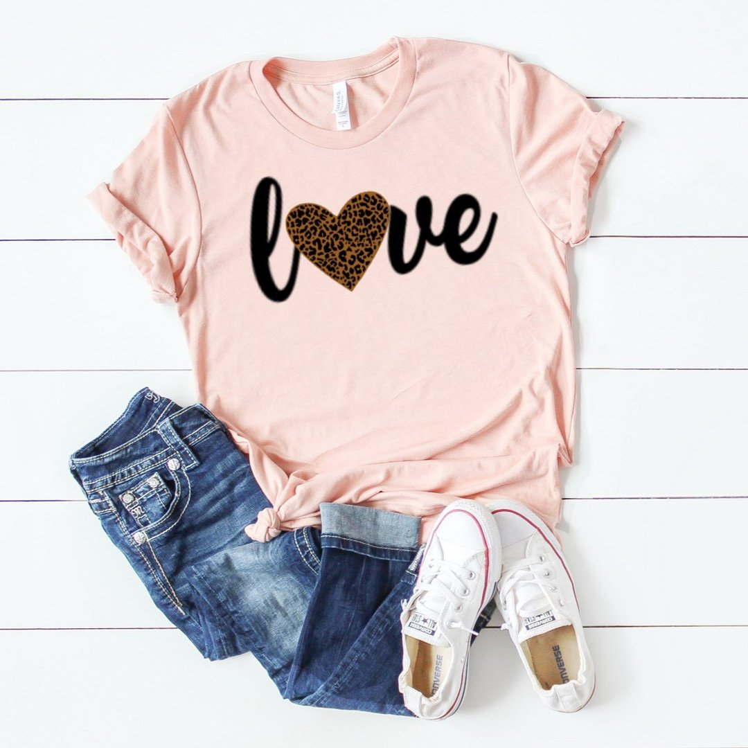 Love with Leopard Print Heart Tee