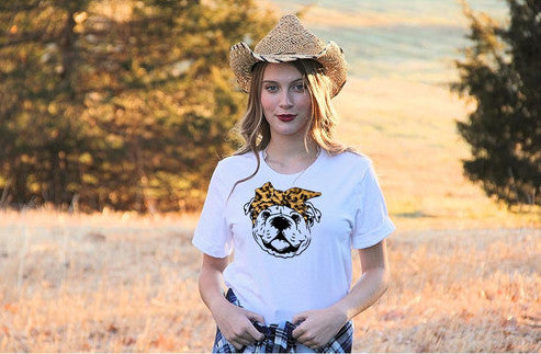 Oh Bow You Didn't English Bulldog Leopard Tee