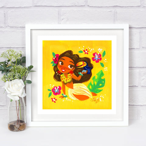 8x8in Hula Tropical Print