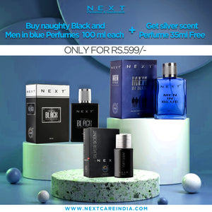 Combo Of 2+1 Perfumes (MEN IN BLUE Perfume 100 ML, SILVER SCENT Perfume 100 ML + NAUGHTY BLACK Perfume 35 ML)