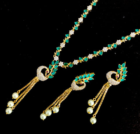 Peacock tassel One gram gold plated designer necklace set