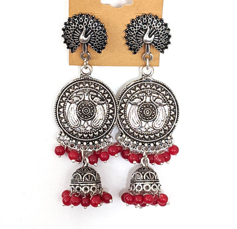 Oxidized silver double layer jhumka earring with beads - 2 designs available