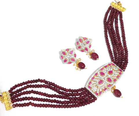 Ruby crsystal bead multi stranded with one gram gold polished rectangle pendant collar chain necklace and earring set