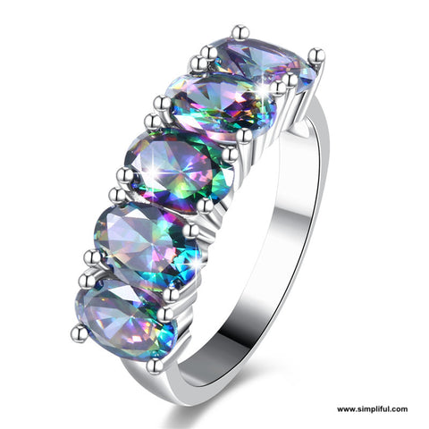 Rainbow oval CZ Finger ring