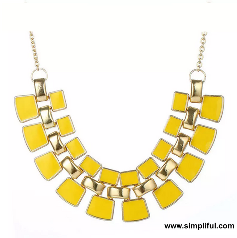 Enamel filled Rectangle Fashion Necklace - Simpliful