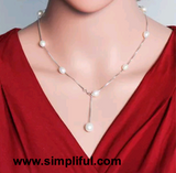 Natural Pearl Sterling Silver Single line tassel Necklace