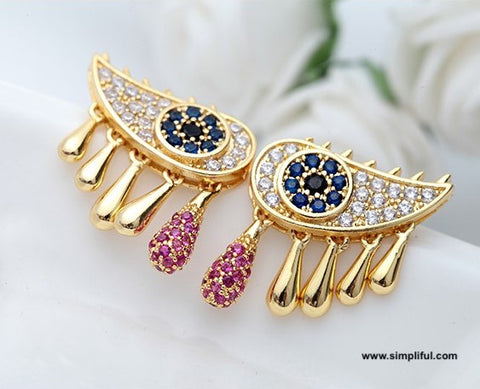 Gold plated Eye like CZ stone stud Earring