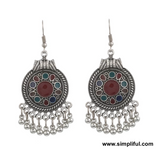 Antique oxidized enamel filled hook drop Earring - Different designs available