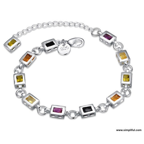 Silver finish multi color rectangle stone Bracelet