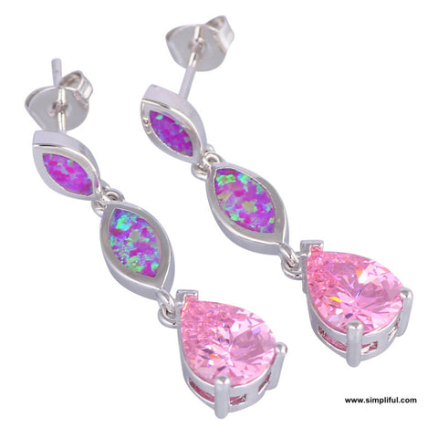 Triple tear drop opal Earring