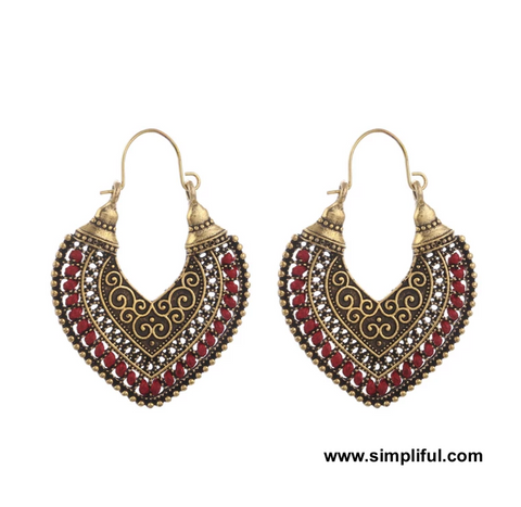 Antique gold oxidized Bali style Earring - Simpliful