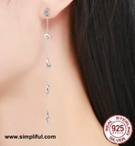 Sterling silver long Musical note Earring