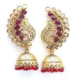 Large dancing peacock stud with etched jhumka hanging Earring