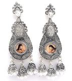 Antique oxidized women print center jhumka hanging Earring - Simpliful