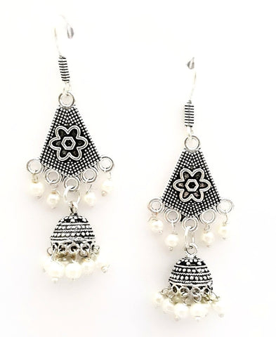 Oxidized Silver Pentagon Jhumka hook drop Earring