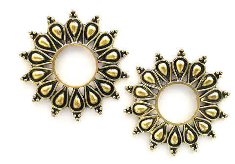 Oxidized Large hollow teardrop surround circle stud Earring