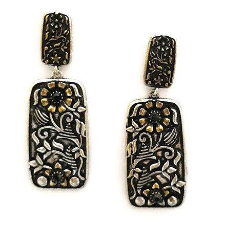Dual tone Oxidized silver n gold finish dual rectangle Earring - Simpliful