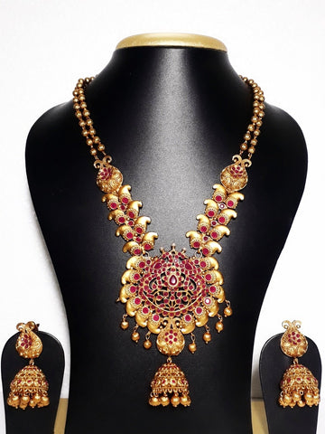 Antique Gold matte finish Jhumka hanging Necklace and Earring set - Simpliful