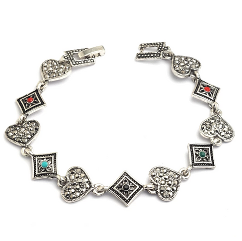 Antique Silver finish heart and diamond shape Bracelet - Simpliful