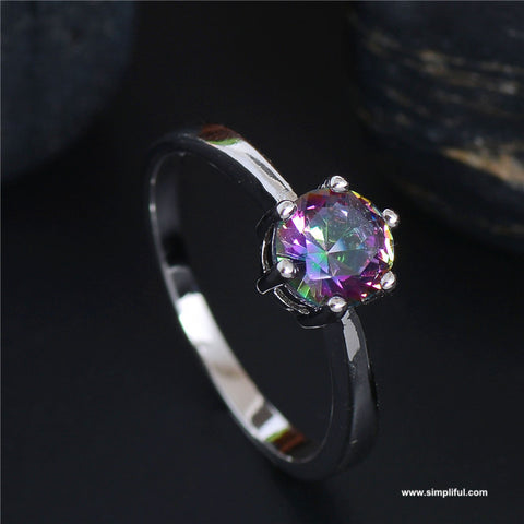 Rainbow color casual Finger ring