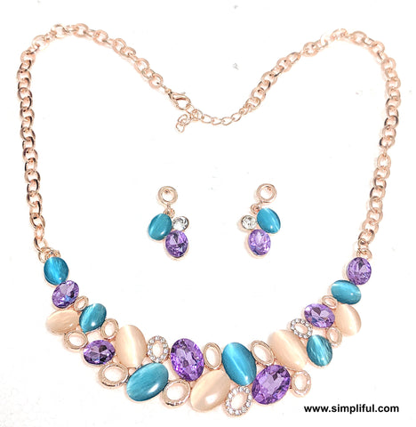 Austrian Crystal Statement Necklace n Earring set - Simpliful