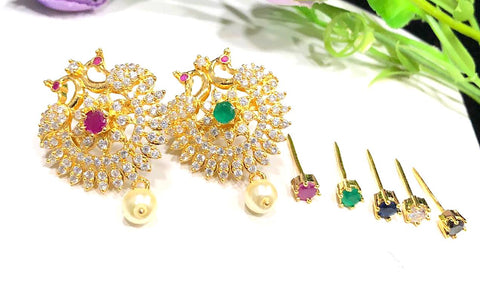 Interchangeable center color stone Peacock CZ Earring