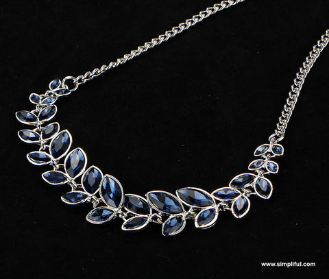 Leafy austrian crystal stone Fashion Necklace