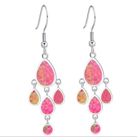Pink Lab created opal stone multiple tear drop dangling design platinum finish hook drop earring
