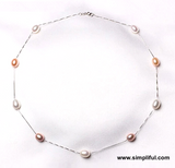 Natural Pearl Sterling Silver Casual Necklace