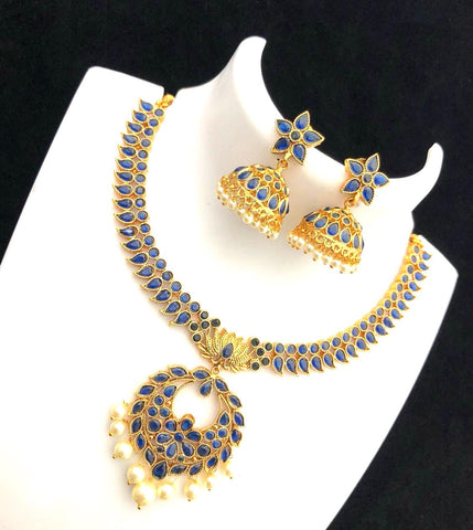 Polki stone embedded traditional chandelier center choker Necklace and jhumka earring set