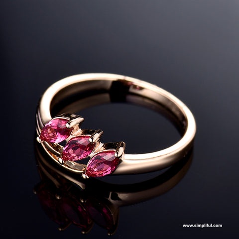 3 stone Ruby CZ Finger ring - Simpliful