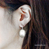 Large Oval faux pearl Earring - Design 2 - Simpliful