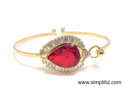 Large Red stone CZ Bangle Bracelet - Simpliful