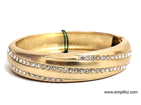 Matt finish yellow gold broad Bangle Bracelet - Simpliful