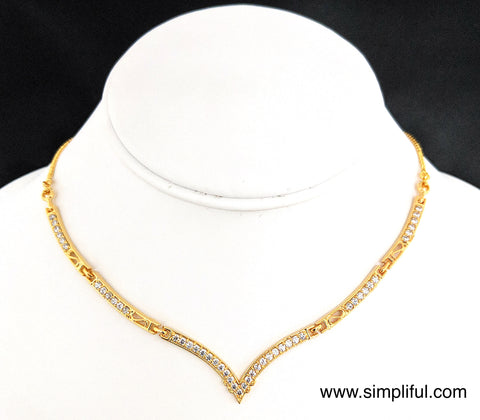 V Neck CZ stone Necklace - Simpliful