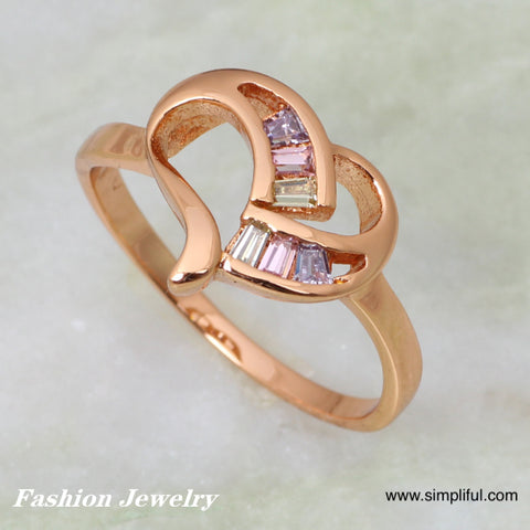 Rose gold plated Heart CZ Finger ring - Simpliful