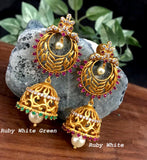 Ramleela and jhumka design combined matte gold finish earring
