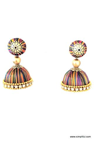 Silk Thread Bell shaped Jhumka Earring - Medium size - Single color