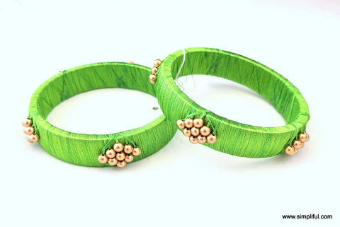 Silk Thread Gold Bead Wrapped Pair Bangle - Simpliful