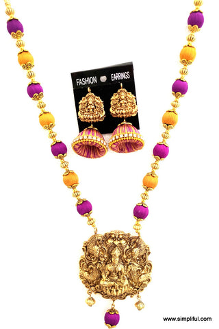 Traditional Silk Thread Lakshmi Necklace and Earring set - Simpliful