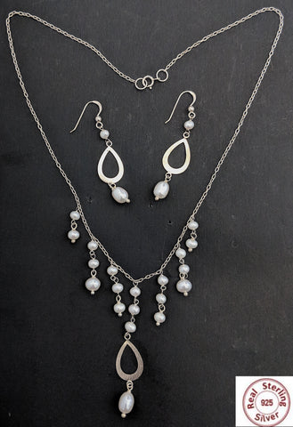 Natural Pearl tassel hanging Sterling Silver Set - Simpliful