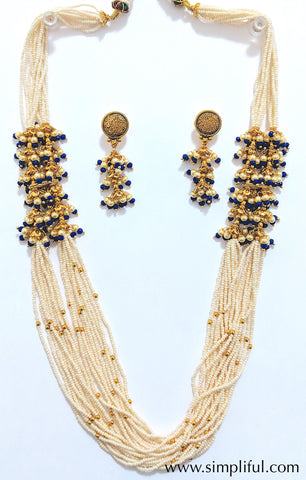 Unique Multi stranded seed bead Necklace and Earring set - Simpliful