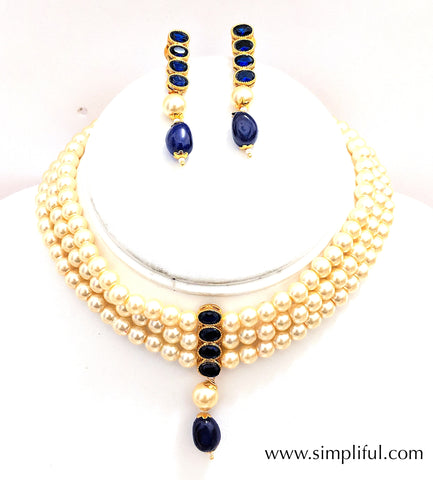 Faux pearl triple stranded collar necklace and Earring set - Simpliful