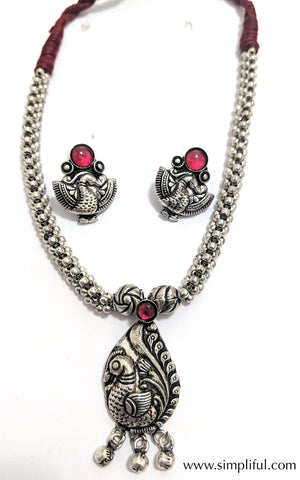 Oxidized Peacock pendant Maroon dori thread necklace and earring set - Simpliful