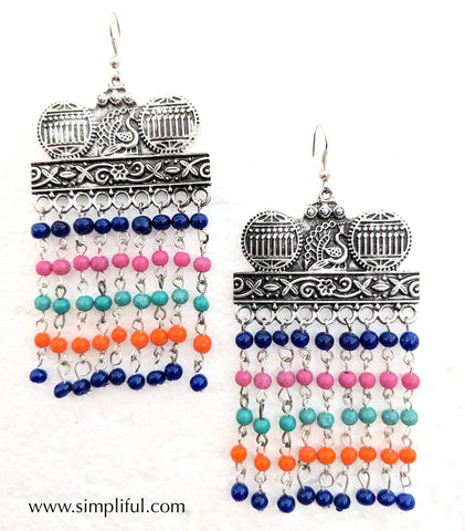 Oxidized colorful bead hanging hook drop Earring - Design 2 - Simpliful