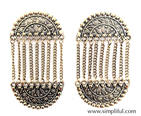 Oxidized dual semi circle linked Earring - Simpliful