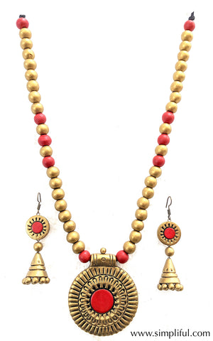 Terracotta designer circle pendant Necklace and earring Set - Simpliful