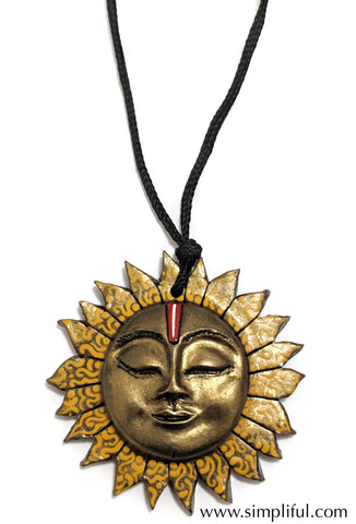 Terracotta Sun Pendant Necklace - Simpliful